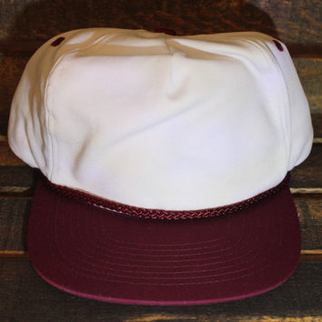 White / Maroon Polyester Golf Cap