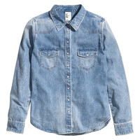 H&M - Denim Shirt - Denim blue - Ladies