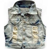 Vintage Sequins Light Blue Denim Vest$39.00
