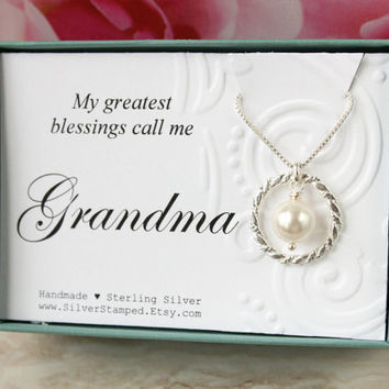 Mothers Day gift for Grandma gift sterling silver eternity necklace Swarovski pearl gift box My greatest blessings call me Grandma necklace