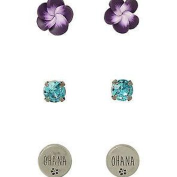 Licensed cool Disney Lilo & Stitch Earrings Set 3 Pair OHANA Hibiscus Flower Faux Jewel Stone