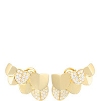 Une Ile D'Or Earrings in Yellow Gold Half Paved with White Diamonds