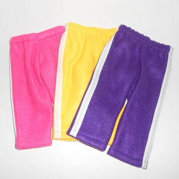 American Girl Doll Clothes 3 pair Fleece Sweat Pants Lot with White Trim fits 18 inch dolls