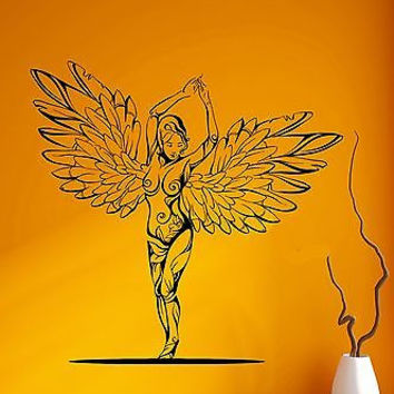 Wall Decal Sexy Girl Nude Angel Wings Beauty Pattern Vinyl Stickers (ed109)
