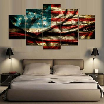 Poster HD Printed Canvas Large Painting Frame Home Decor 5 Pieces Retro American Flag Wall Art Pictures For Living Room PENGDA
