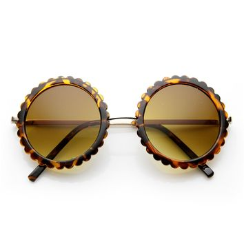 Womens Stylish Round Floral Cut Edge Fashion Sunglasses