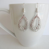 Silver Drop Filigree Earrings Hypoallergenic