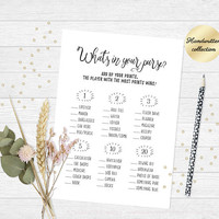 Printable bridal shower game, Whats in your purse game, Bridal shower purse game, Fun bachelorette party game, Printable wedding shower game