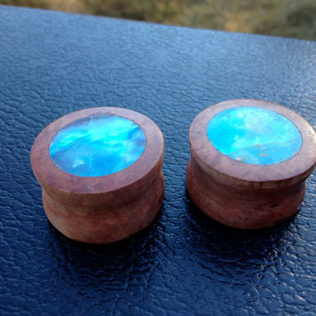 Red manzanita and blue Peruvian opal by MendoEarthElements on Etsy