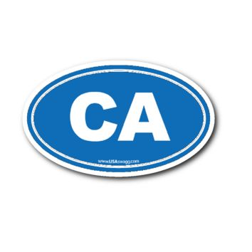 California CA Euro Oval Sticker BLUE