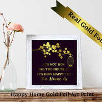 Custom foil print, Real foil print,Custom Typography Print,Inspirational Quote Print,Foil Art Print, Gold Wall Art,Christmas Gift,Happy Home