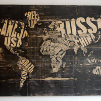 "Word Art Wood World Map Extra Large Wall Art on Distressed Solid Wood Planks - 50"" x 32"" Countries Typography"