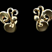 Barclay Earrings Large Gold Swirls Clip On Signed