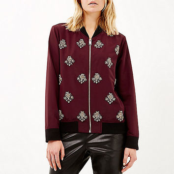 Dark red embellished bomber jacket - bomber jackets - coats / jackets - women