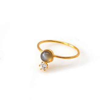 Double Dose Gold Ring (moonstone and diamond)