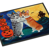 Corgi Halloween Scare Indoor or Outdoor Mat 24x36 7413JMAT