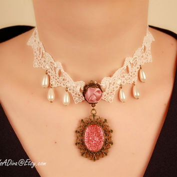 Magnificent Pink - 1920s 1930s Art Style Victorian Choker Collar with Pendant, Edwardian Necklace,Burlesque collar, Art Nouveau Necklace G88