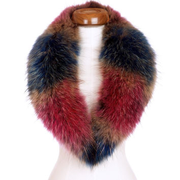 Multi Raccoon Fur Collar Scarf