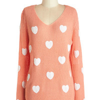 ModCloth Darling Mid-length Long Sleeve Hearts to Believe Sweater