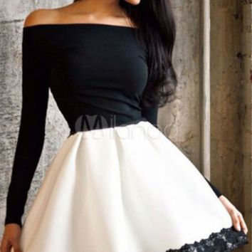 Off-The-Shoulder Two-Tone Flare Dress