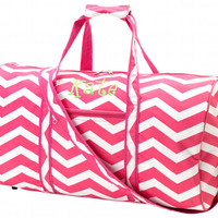 Monogrammed Pink and White Chevron Duffle Bag