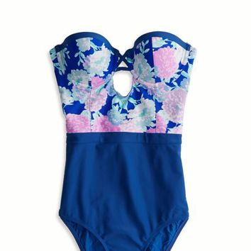 AEO Women's Hi-waisted One-piece Swimsuit (Electric C
