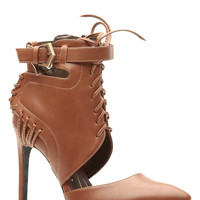 Tan Faux Leather Pointed Toe Lace Up Booties