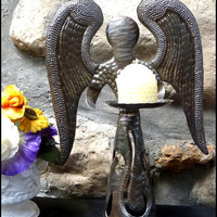 "Angel Candle Holder - Haitian Metal Steel Drum Art - 12"" High"