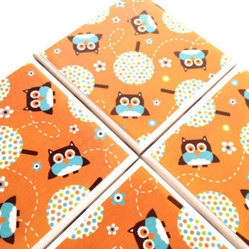 Owls Ceramic Tile Coasters Orange Tree Fall Drink Set