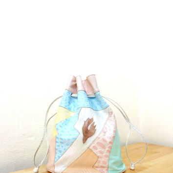 Vintage Pastel Leather Purse / Patchwork Bag / Drawstring Purse / Snakeskin Handbag / Leather Bucket Bag