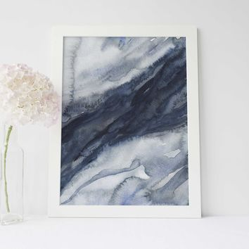 Watercolor Modern Abstract Navy Blue Art Print