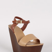 Bamboo Two Tone Platform Wedge