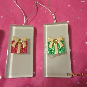 Package Ceramic Tile Christmas Ornaments - Set of 4 - Clear Smoky Ceramic Tiles With Glitter Packages Gold Bows and Bling
