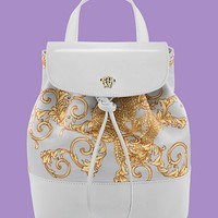 Versace - Patterned rucksack with leather