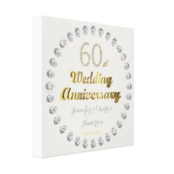60th Diamond Wedding Anniversary Gold Typography Canvas Print