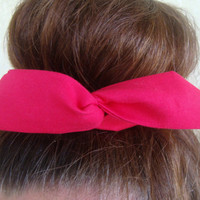 "Wire Bun Wrap, Top Knot Wire Wrap Solid Hot Pink ""Mini"" Dolly Bow Wire Headband Ponytail Hair tie Hair Bun Tie Wrap"