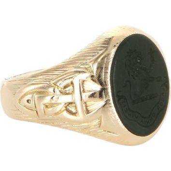 Vintage Art Deco 14 Karat Gold Mens Bloodstone Lion Animal Crest Signet Ring Estate Jewelry Pinky