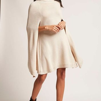 Turtleneck Cape Sweater Dress
