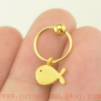 tragus earring,whaleTragus Earring, Cartilage Hoop,CBR Captive Bead Ring cute Helix Cartilage jewelry,oceantime