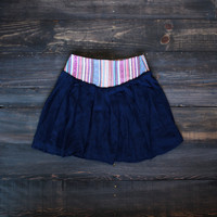 Road Trip Embroidered Skirt   navy