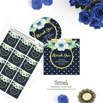 Printable Bridal Shower Favor Tags, Printable Thank You Favor Tags, Blue Bridal Shower Tags, Thank You Tags, Printable Favor Tags