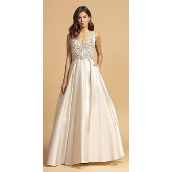 Champagne Beaded Bodice Long Prom Dress with Pockets