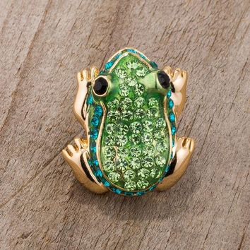 Gold Trim Green and Gold Frog Brooch Pin with Crystals