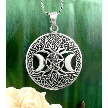 Triple Moon Goddess Tree of Life Pentacle Necklace