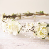 Bridal Flower Crown, Rustic Crown, Ivory Bridal Headpiece, Floral Crown, Rustic Wedding Hair Accessories, Hair Wreath, Baby's Breath