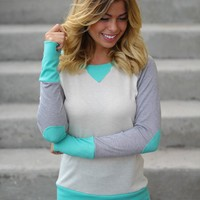 Mint and Cream Top with Elbow Patches