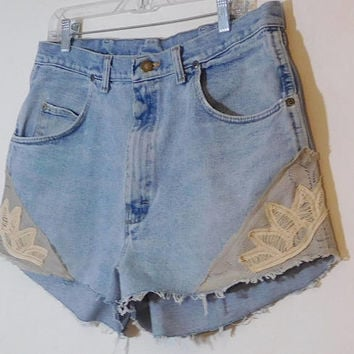 Plus Size Jean Shorts, Upcycled Clothing, Lace, Patched, High Waisted, Slimming, Light Blue, Wrangler, Mens Jeans, 36 Waist, Hippie Clothes