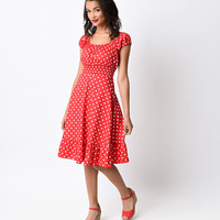 1940s Style Red & White Dot Cap Sleeve Peasant Swing Dress