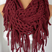 Burgundy Infinity Scarf Loop Scarf Circle Scarf Fabric Knitted Lace Scarf - Tube Scarf - fatwoman