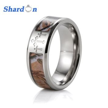 shardon three cross camo men rings 8mm titanium mossy oak band w - Mossy Oak Wedding Rings